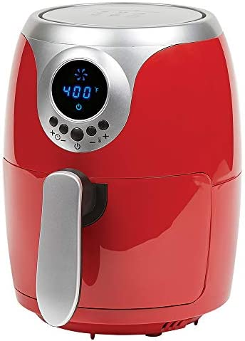Copper Chef 2 QT Black and Copper Air Fryer – Turbo Cyclonic Airfryer With Rapid Air Technology For Less Oil-Less Cooking. Includes Recipe Book (Red)