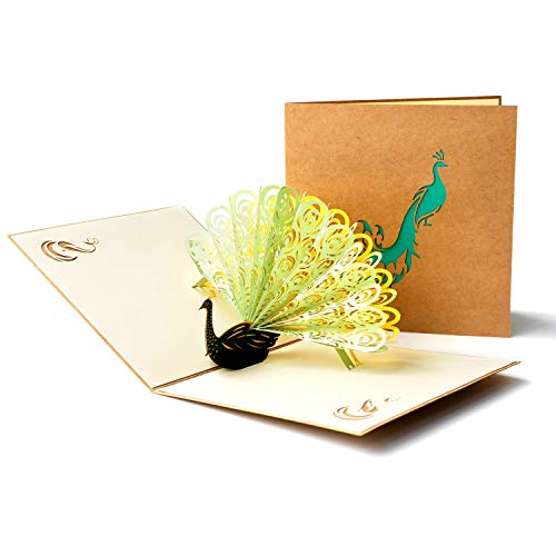 PaperSpiritzポップアップグリーティングカード「レトログリーンピーコック」誕生日カード封筒付き