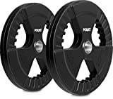 POWRX Dischi Pesi Olimpici 40 kg Set (2 x 20 kg) - Ideali per manubri e bilancieri olimpionici con Braccio da 51 mm (Nero)