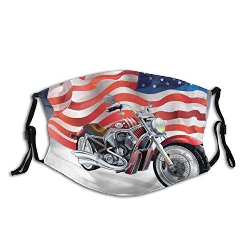 Hangdachang - Maschera nera per Harley Moto e bandiera americana Sport Automobile Davidson riutilizzabile, lavabile alla polvere e bocca, riutilizzabile, viso in cotone (1 pezzo)