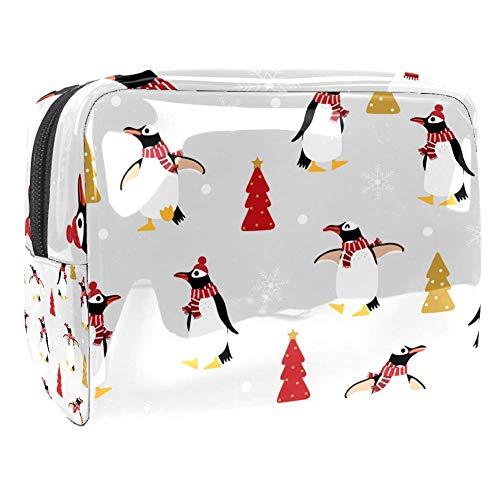 Makeup Bag Christmas Tree Penguin Travel Toiletry Bag Makeup Organizer Case Large Capacit Waterproof 7.3x3x5.1in