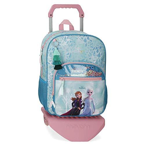 Frozen Mochila Find Your Strenght Escolar con Carroy, 30x38x12 cm, Azul