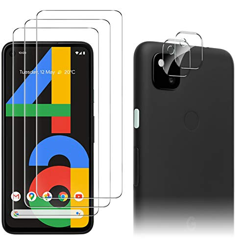 Luibor for Google Pixel 4a Screen Protector[3 Pack]+ for Google Pixel 4a Camera Lens Protector Anti-fingerprint Anti-Scratch Tempered Glass for Google Pixel 4a