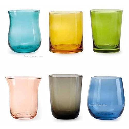 Fade Bicchieri in vetro colorato Celine 6 pezzi assortiti