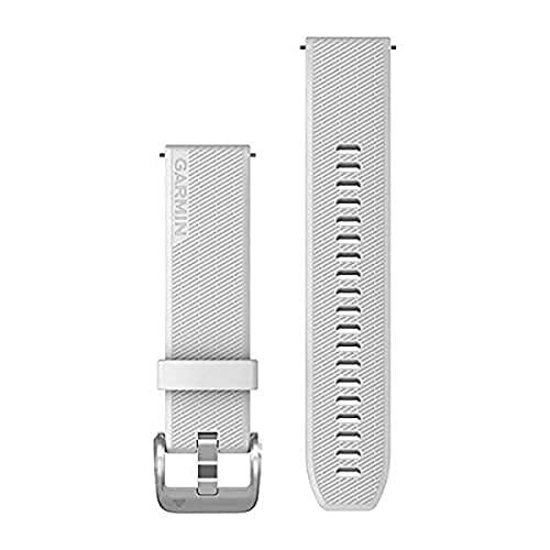 Garmin Correa de reloj de liberación rápida 20, silicona blanca con herrajes de plata pulida, (010-13114-01)