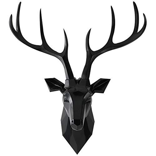 Scultura a Parete Testa Cervo Da Appendere Scultura Da Parete Ornamento Testa Di Cervo Creativo Soggiorno Sala Da Pranzo Resina Appesa Testa Di Cervo Decorazione Murale ( Color : Black )