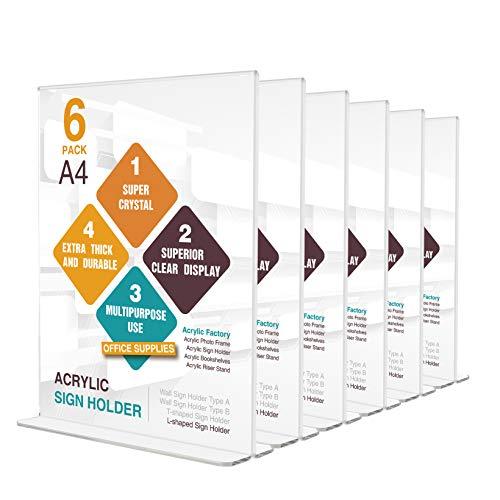 6 Stück A4 Acryl T-Ständer Werbeaufsteller Aufsteller Tischaufsteller menükartenhalter Prospekthalter für Papiere Broschüren Anzeige auf Tisch