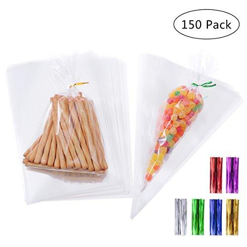 BESTONZON 150 Stück Cello Taschen Zellophan mit 160 Stück Binderstreifen, Transparente Süßigkeitentüten für Bonbons, Schokolade, Partei Geschenk