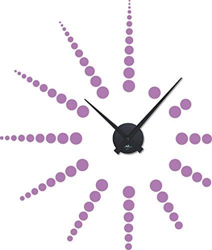 Wandtattoo Uhr Wanduhr Modernes Sonnen Design mit Punkten und Uhrwerk (67x57cm / 042 Flieder/Uhrwerk Schwarz)