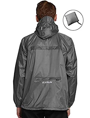 EZRUN Men's Waterproof Hooded Rain Jacket Windbreaker Lightweight Packable Raincoat(Silver Grey,XXL)
