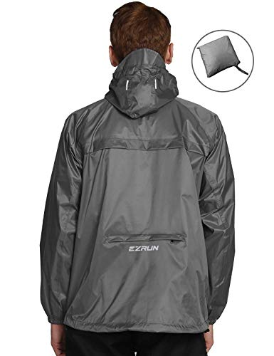 EZRUN Men's Waterproof Hooded Rain Jacket Windbreaker Lightweight Packable Raincoat(Silver Grey,XL)