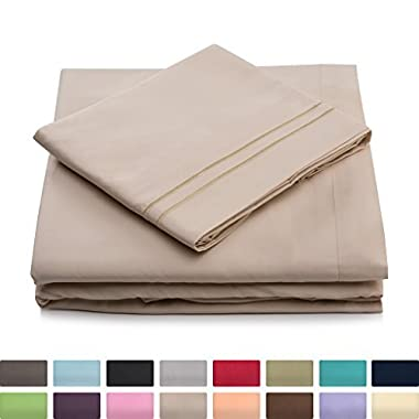 California King Bed Sheets - Cream Luxury Sheet Set - Deep Pocket - Super Soft Hotel Bedding - Cool & Wrinkle Free - 1 Fitted, 1 Flat, 2 Pillow Cases - Beige Cal King Sheets - 4 Piece