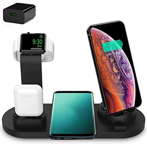 Xflelectronic Cargador inalámbrico, estación de Carga de múltiples Dispositivos 4 en 1 Cargador rápido inalámbrico QI, para Apple Watch/Airpods/iPhone 12/12 Pro MAX / 11/11 Pro MAX/X/XS/XR/XS MAX / 8