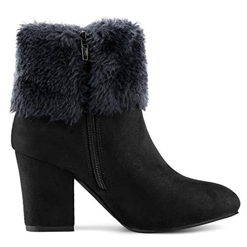 Allegra K Women's Faux Fur Snow Suede Chunky Heel Black Ankle Boots – 8 M US