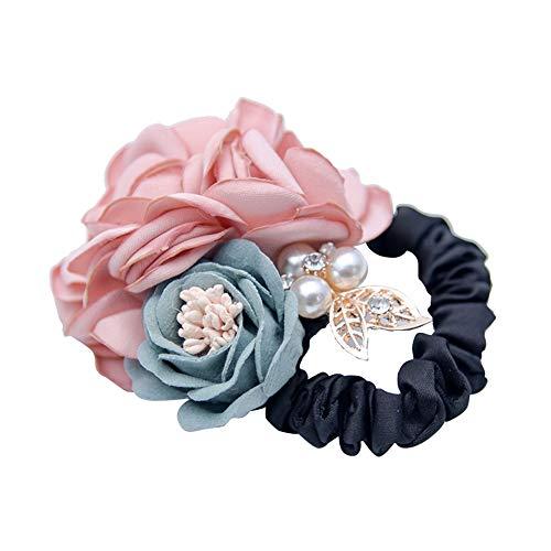 Winhappyhome, anello per capelli ad alta elasticità, effetto bordo bruciato, rosa con due fiori, perla e foglie, copricapo (rosa)