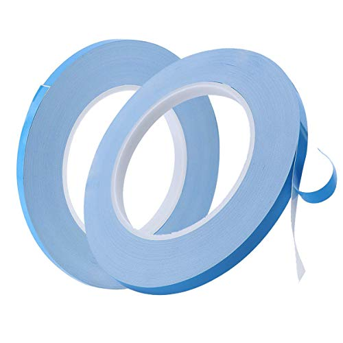 Liwein 2 Stücke Thermisches Klebeband,Wärmeleitendes Doppelseitiges Klebeband Selbstklebend Tape Doppelseitig Wärmeleitpaste für Integrierte Schaltungen Kühlkörper Chipsatz LED(5mm 10mm*50m*0.2mm)