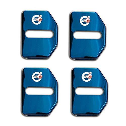 WCXTY Automóvil Cubiertas de Cerradura de Puerta,Acero Inoxidable Accesorios Antioxidantes,4 Piezas Cubierta de Cerradura de Puerta,para Volvo XC40/60/90/S80L/90/60L/V40/90/C30,Blue