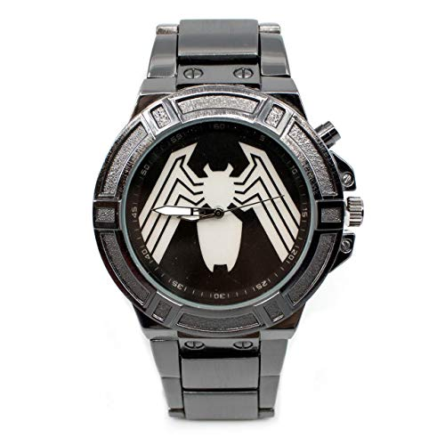 Venom - Reloj con símbolo de retroiluminación con correa de metal