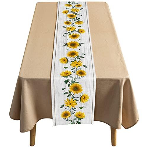 Kairuijie Corredor De Mesa De Algodón Y Lino Simple, Impermeable Y A Prueba De Aceite Café Largo para El Hogar, Patrón Floral(Size:33×229CM,Color:Blanco)