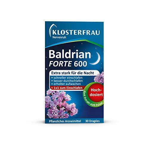 Klosterfrau Nervenruh Baldrian Forte 600 | Bei leichter nervöser Anspannung und bei Schlafstörungen | 30 Dragées