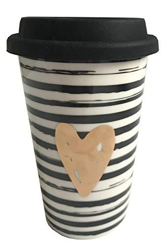 Tasse Becher to go goldenes Herz weiß mit Strichen/Streifen und schwarzem Silikon Deckel 300 ml Porzellan