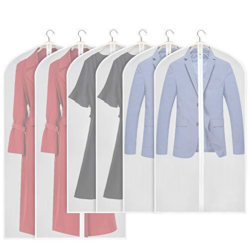 Univivi Garment Bags Suit Bag for Storage and Travel 43/50 inch, Anti-Moth Protector, Foldable Washable Suit Cover for Dresses, Suits, Coats, Set of 6 (60cm*109 /127cm)