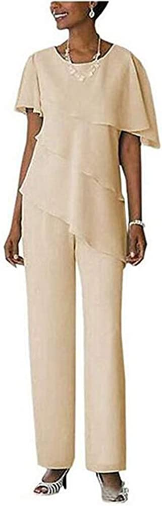 Women's Chiffon Short Sleeve Mother of The Bride Outfit Pants Suits Plus Size Evening Gowns
