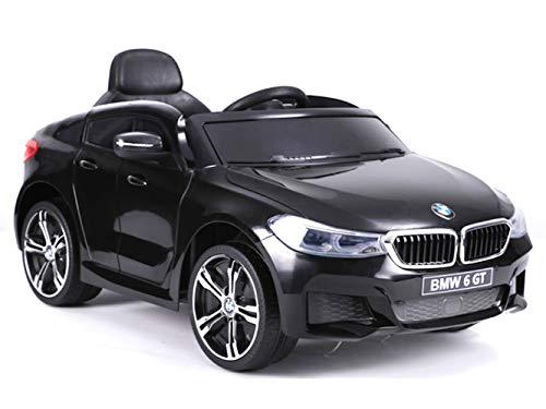 ES-TOYS Kinderfahrzeug Elektro Auto BMW 6GT - lizenziert - 12V, 2 Motoren+ 2,4Ghz+ Ledersitz+Eva (Schwarz)