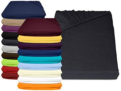 npluseins Jersey Elasthan Spannbettlaken für Wasser- und Boxspringbetten - in 19 modernen Farben - Steghöhe ca. 40 cm - Maße ca. 180-200 x 200-220 cm, anthrazit