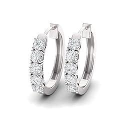 White-Diamond Gemstone Huggies Earrings in 14K White Gold