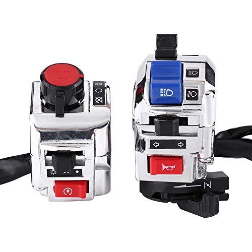 KIMISS 1 Par Plástico + Aluminio Universal 7/8 pulgadas Moto Manillar Bocina Interruptor de control de inicio de luz de señal de giro(Blanco)