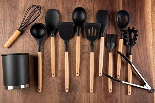 Juego de 11 Utensilios de Cocina de Silicona y Madera con Cubeta de Almacenamiento - Color Negro -Zanetti