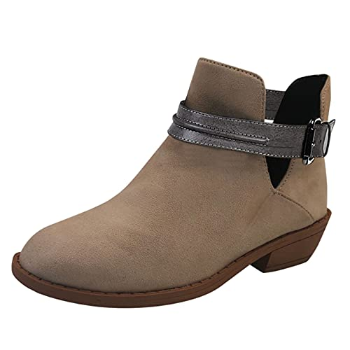 HHHG Botines cortos para mujer, zapatos retro, antideslizantes, zapatos cuadrados, con hebilla, puntera redonda, 01 Beige, 41 EU