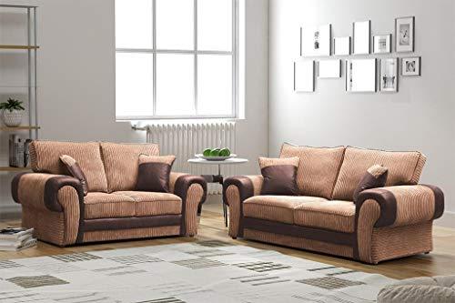 Honeypot Ecksofa, Tango, 3-Sitzer, 2-Sitzer, Fußhocker, Schwarz/Grau, Braun/Beige, Textil, braun/beige, 3 & 2 Seater