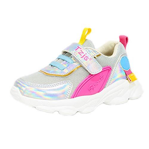 TZJS Zapatos niños Deportivo Transpirable y Transpirable con Parte Superior de Cuero cómoda con Zapatillas Velcro niña Sneakers (Plata, numeric_25)