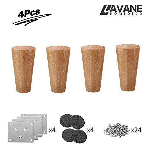 10cm Holz Tischbeine, La Vane 4 Stück Massivholz Konisch Ersatz Möbelfüße Möbelbeine mit Montageplatten & Schrauben für Sofa Bett Schrank Couch Stuhl