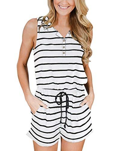 YIBOCK Women's Summer Sleeveless Button Down Striped Short Jumpsuit Cami Romper (A-Grey Solid, XL)