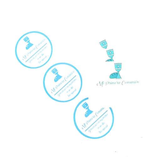50 Etiquetas azules adhesivas + 50 Tarjetas para detalle de Primera Comunión
