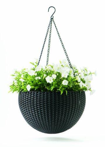 Keter Blumentopf Hanging Sphere mit Hängekette Pflanzampel Hängeampel Hängetopf Deko Strickdesign aus Kunststoff anthrazit