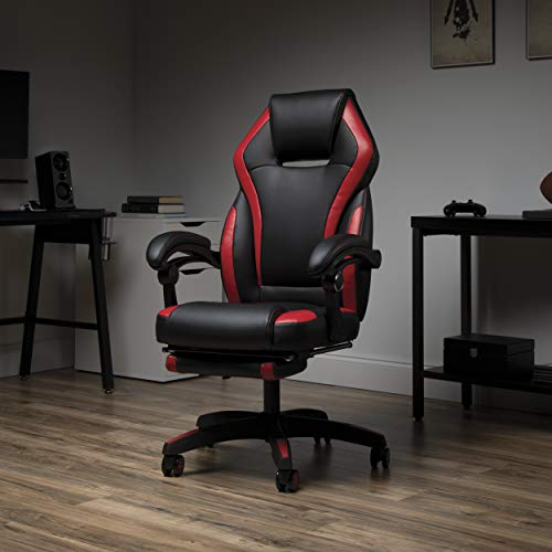 OFM Reclining Gaming Chair with Footrest, Bonded Leather, Red