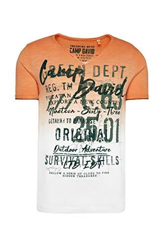 Camp David Herren T-Shirt mit Farbverlauf und Label Prints