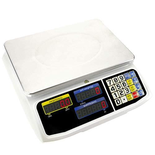 PrimeMatik - Balanza mostrador de sobremesa con Bandeja de 300x205 mm Báscula de Tienda de 30 Kg