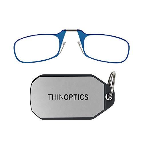 ThinOptics unisex adult Keychain Case + Reading Glasses, Blue, 44 mm US