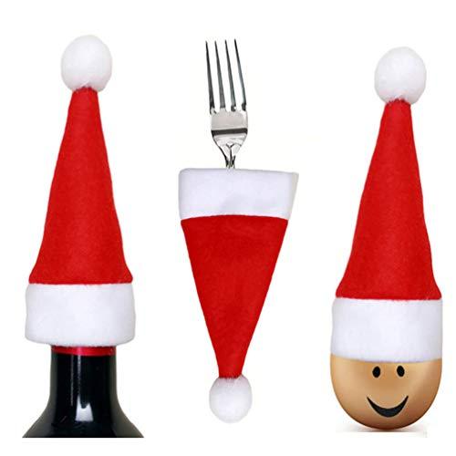 NUOBESTY 18 Stücke Mini Weihnachtsmütze Besteckbeutel Besteckhalter Weihnachten Tischdeko Weihnachtsmann Bestecktasche Kleine Nikolausmützen Weinflasche Abdeckung Lutscher Mütze