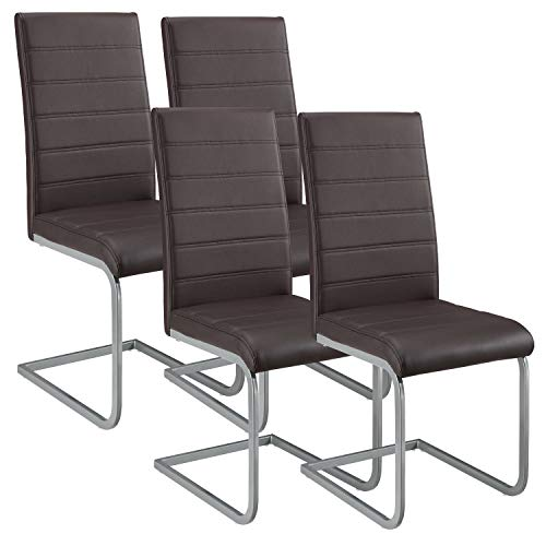 ArtLife Freischwinger Stuhl Vegas 4er Set | Kunstleder Bezug + Metall Gestell | 120 kg belastbar | braun | Esszimmerstühle Schwingstühle
