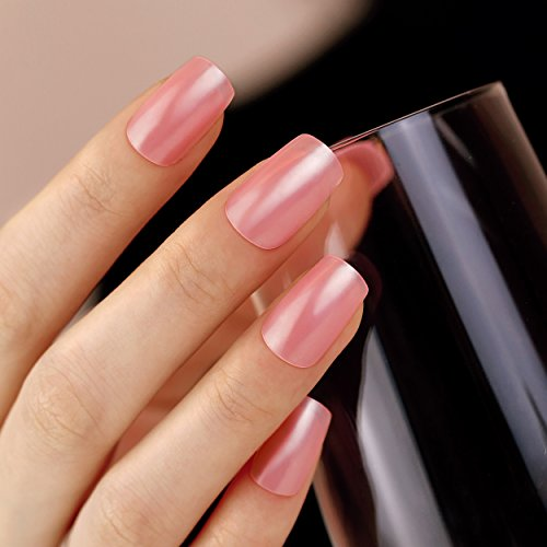 ArtPlus Faux Ongles 24pcs x 2 (2-Pack) Deep Pink Elegant Touch False Nails Premium Pack Full Cover Long Length with Glue Fake Nails Art 2 Boxes in 1