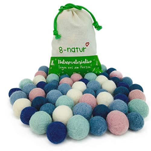 """8-Natur """"Mix Lagune"""" Bunte Mischung aus 50 Filzkugeln 2,2cm dick aus Reiner Merinowolle zum Basteln von Girlanden, Baby Mobile und Filzkugelteppich oder einfach nur zur Deko"""