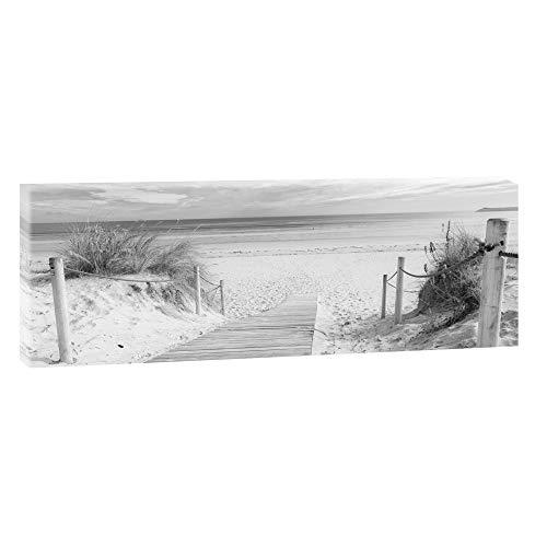 Bild auf Leinwand mit Nordsee-Motiv Weg zum Strand 3 – 150x50 cm Schwarz-Weiß Wandbild im XXL-Format, Leinwandbild mit Kunstdruck ungerahmt, Landschaftsbild fertig auf Holzrahmen gespannt, Made in Germany