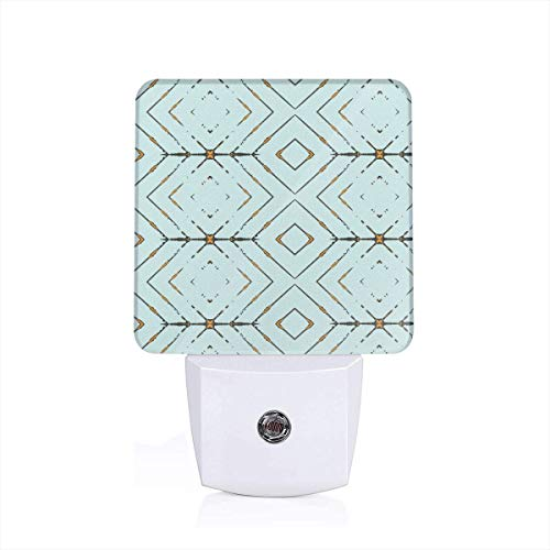 Led Night Light Arrow Mint And Brown Pattern Auto Senor Dusk to Dawn Night Light Plug in for Baby, Kids, Children's Room