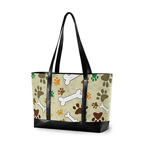 RELEESSS - Bolso de mano para portátil con estampado de huellas de animales, bolsa de hombro para mujeres, señoras y niñas